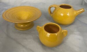 3 Pc Lot 1938 UND Mines University North Dakota Pottery Yellow Glazed CAVE