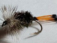 TROUT DRY FLIES HOPPER # 8 CUSTOM TIED IDYLWILDE BULLET HEAD YELLOW