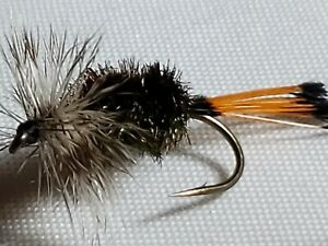 TROUT DRY FLY # 10 GREY HACKLE PEACOCK CUSTOM TIED FRONTIER FISHING FLIES
