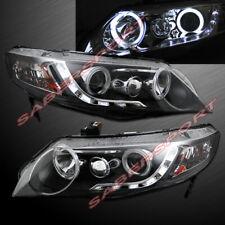 Pair Black Halo Projector Headlights w/ LED Stripe for 2006-2011 Civic 4dr Sedan