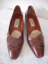 Vintage Bally Size 7.5 S (AAA) Brown Womens Leather Slip on Shoes Italy