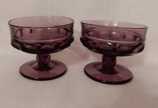 Indiana Glass KINGS CROWN Thumbprint Amethyst Purple SHERBETS Set of 2 Compote
