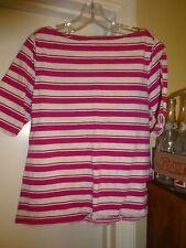 Liz Claiborne New York Pink & White Stripe Large Boat Neck Short Sleeve Blouse