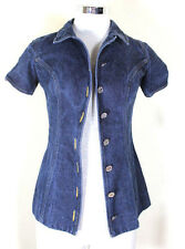 CHANEL Boutique Blue Cotton Denim Blouse Top Blazer Vest Small XS 2 3 4