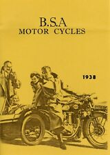 1938 BSA MOTOR CYCLE CATALOG  - ANTIQUE REPRODUCTION