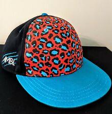 Cheetah Leopard Animal Print Snapback AMBL Hat Cap Flat BillBlue Black Orange