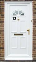 "2x  Self Adhesive Weatherproof house door numbers Vinyl Stickers  4"" ( gold"