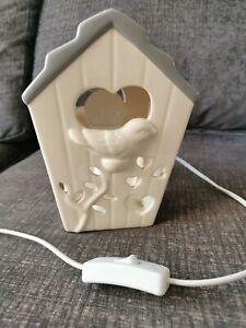 Bird House Ceramic Bedside Light Lamp Grey Cream Mains Plug Switch
