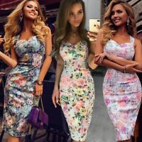 UK Women Off Shoulder Floral Bodycon Dresses Backless Ladies Summer Beach Dress