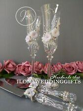 Swarovski Crystal Personalized Wedding Toast Glass Bling Sparkle Romantic Roses
