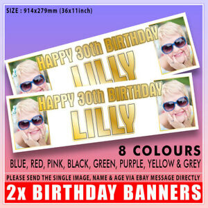 """2x PERSONALISED PHOTO BIRTHDAY BANNERS  1st 5th 16th 18th 21st 30th 40th 36x11"""""""