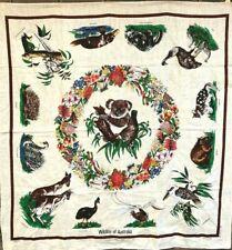 Square Tablecloth Wildlife Australia By Heil Koala Kookaburra Linen Souvenir