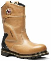Mens V12 Tomahawk Waterproof Leather Safety Rigger Mid Calf Work Boots Shoes