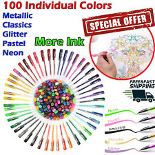 100 Gel Pens Set Individual Colors Adult Coloring Metallic Glitter Neon More Ink