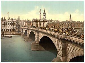 London Bridge London Vintage photochrome print ca. 1890