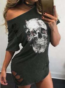 Women Gothic Causal Sundress Skull Off Shoulder Hole Ladies Dress Size 6-18