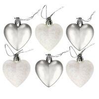 Theme Machine Pack Of 6 Christmas Shatterproof Glitter Heart Baubles - 6cm