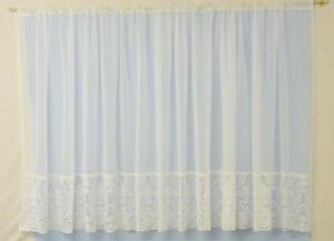 WHITE VOILE CURTAIN WITH LACE BASE SOLD BY THE METRE - Made in UK