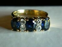 2 Ct Oval Cut Blue Sapphire & Diamond Three Stone Band Ring 14k Yellow Gold Over