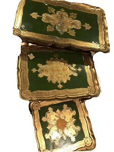 "Vintage Gold Gilt Italian Florentine ""Green"" Nesting Tables Set of 3"