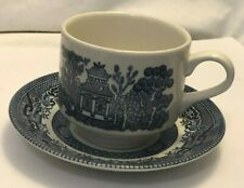 BLUE WILLOW CUP & SAUCER CHURCHILL ENGLAND FINE ENGLISH TABLEWARE VINTAGE EC vtm