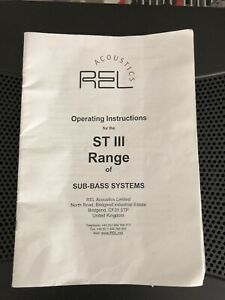 REL Acoustics Operating Instructions/User Manual For ST III Range