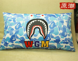 Bape Shark Head Camo Sleeping Pillow A Bathing Ape Soft Throw Long Cushion New