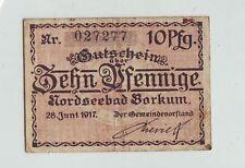 Notgeld Nordseebad Borkum  1917 10 Pfenning  Ostfriesland  Geldschein