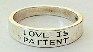 Size 9 Love is Patient 5mm Band Ring 925 Sterling Silver