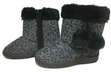 8dda8952395e NEW size 7 GIRLS BLK GRY FUR TRIM ZIP KIDS TODDLER RUBBER SOLE BOOTS SHOES
