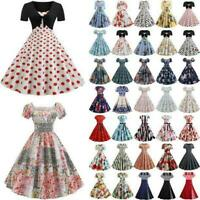 Women's Vintage Style 1950's Retro Floral Rockabilly Evening Party Swing Dress