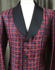 VERY RARE 1970s Brioni Red Check Tuxedo Dinner Smoking Jacket 1975