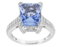 Size 8- Bella Luce 5.15ct Blue & White Diamond Simulant Sterling Silver Ring