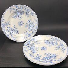 GIEN 2 Assiettes Faïence modèle Fleurettes Bleues Art Nouveau 1900
