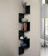 New Large Corner Wall 5 Shelf Display Bookcase Bookshelf Unit Storage - Black