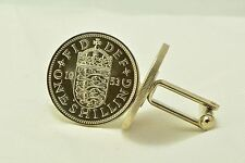 English Queen Elizabeth II 1-Shilling Vintage Coin Cufflinks