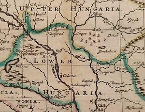1690 JOHN SELLER MAP HUNGARY AND SCLAVONIA (SLAVONIA CROATIA) ORIGINAL COLOUR