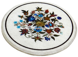 White Marble Round End Coffee Table Top Rare Inlay Mosaic Garden Furniture H2975