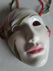 """Vintage- 1984 Vandor Lotus Porcelain Wall Mask,  Designs Made Japan,  8"""" Long"""