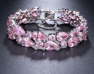 14k White Gold GF Bracelet made w Swarovski Crystal Pink Topaz Stone Bridesmaid