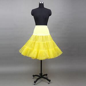 50er 60er Jahre Petticoat Tüllrock Dirndl Rock Unterrock Fasching Gelb NEU 65cm