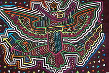 Kuna Mola Hand stitched Art Fabric Applique Panama Eagle Tribe Coat Of Arms 40B