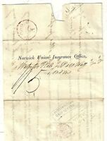 SOUTHAMPTON SHIP LETTER ON FRANCE TO NORWICH UNION INSURANCE LONDON 1822