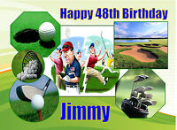 EDIBLE ICING GOLF CLUBS BALL SPORTS GOLFER MENS HAPPY BIRTHDAY NAME CAKE TOPPER