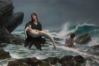 VINTAGE MERMAID fantasy oil painting Printed canvas art for living room 16x24