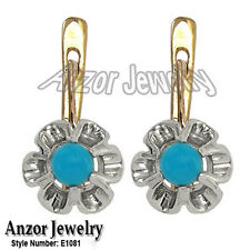14k Solid Rose and White Gold Genuine Turquoise Russian Earrings 585 #E1081