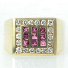 Vintage  14k Gold Ruby Diamond Square Men's Ring