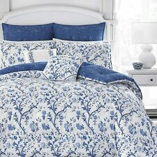 Laura Ashley Home Elise 7pc King Luxury Ultra Soft Comforter Blue/White Bed Set