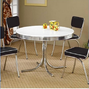 Vintage Metal Dining Table 4 Person Round Kitchen Breakfast Nook Chrome White