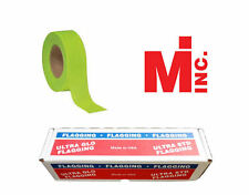 "Fluorescent Green Taffeta Survey Flagging 1 3/16"" by 150 Feet - 12 Rolls"